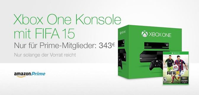 amazon xbox one mit fifa 15 nur 343 euro f r prime. Black Bedroom Furniture Sets. Home Design Ideas