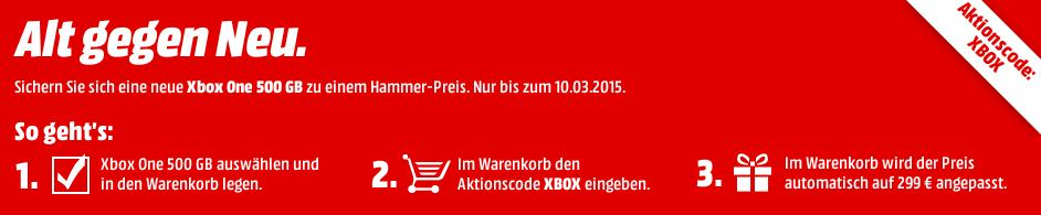 media markt xbox one ohne kinect f r 299 euro mit. Black Bedroom Furniture Sets. Home Design Ideas