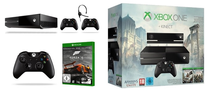 amazon xbox one mit kinect inkl assassin s creed black flag und unity f r 359 euro weitere. Black Bedroom Furniture Sets. Home Design Ideas