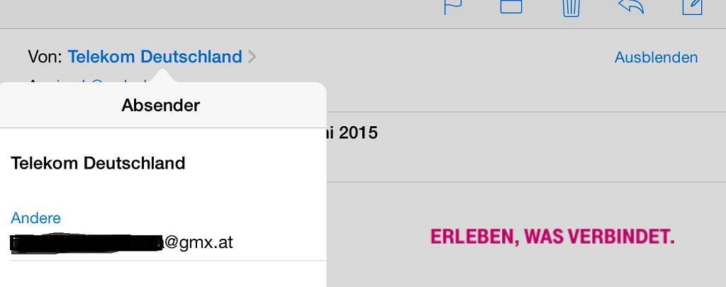 Telekom Phishingmail Juni 2015