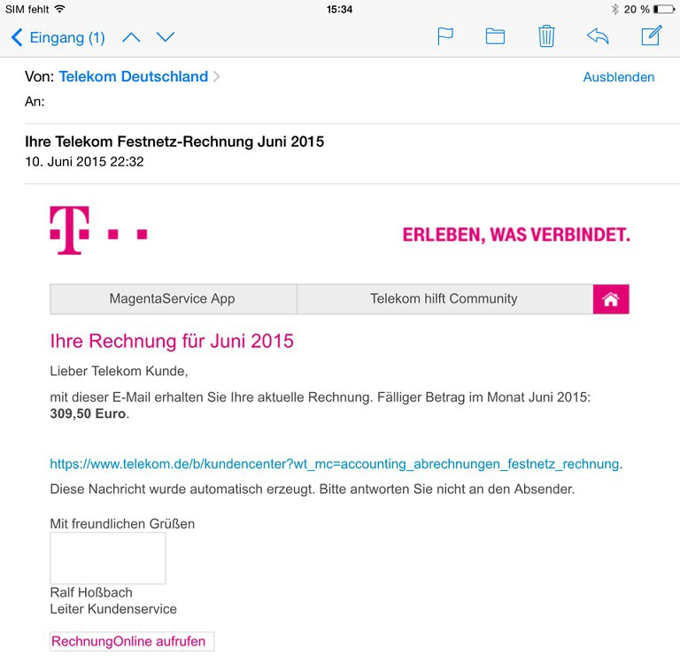 falsche telekom rechnungen 2015 phishing mails und spam. Black Bedroom Furniture Sets. Home Design Ideas