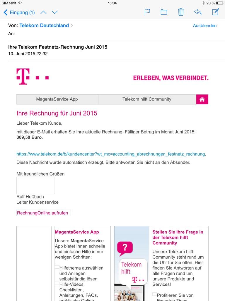 Falsche Telekom Rechnungen 2015 Phishing Mails Und Spam Erkennen
