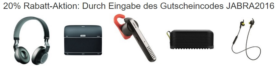 amazon 20 rabatt gutschein auf jabra produkte tragbare lautsprecher headsets und kopfh rer. Black Bedroom Furniture Sets. Home Design Ideas