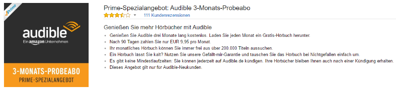Amazon Audible 3 Monate testen