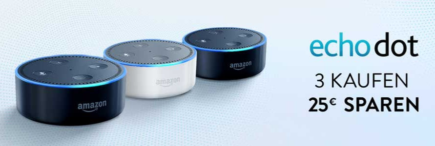 3 Amazon Echo Dot mit 25 Euro Rabatt