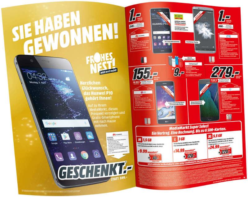 Media Markt - Frohes Nest - goldene Seite im Prospekt - Huawei Smartphone
