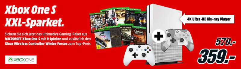 Xbox One S günstiger - Sparpaket mit 9 Spielen und 2 Controllern