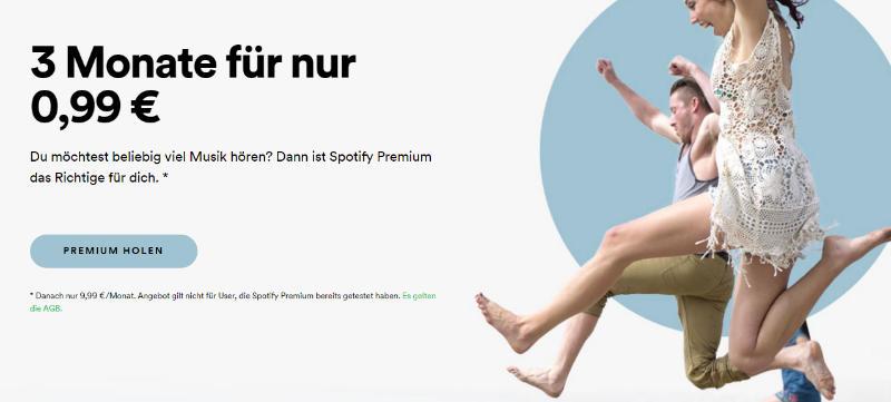 Spotify Premium testen - 3 Monate 99 Cent