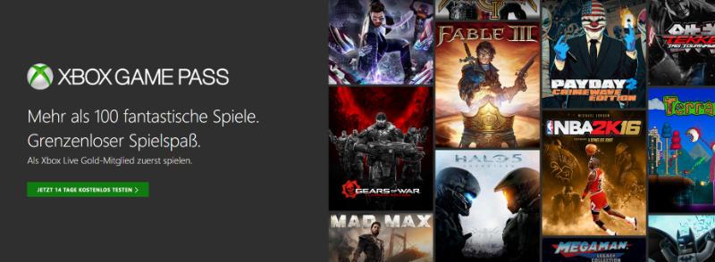 Xbox Game Pass gestartet - über 100 Spiele - Liste der Spiele bei Xbox Game Pass - Katalog