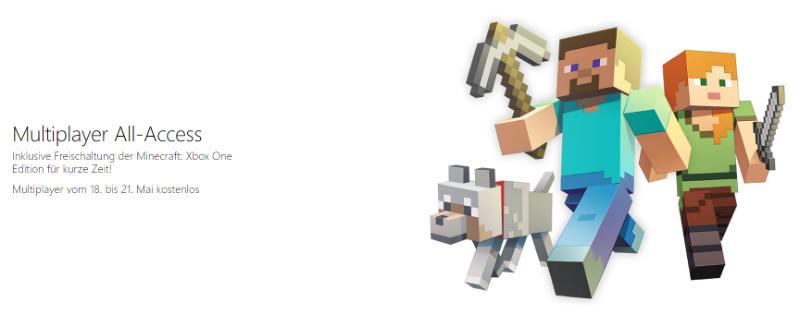Xbox Live kostenlos 18.05. - 21.05.2017 - Minecraft Xbox One kostenlos herunterladen und spielen