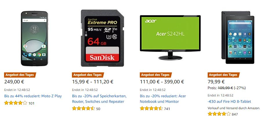 Amazon Angebote des Tages - Moto Z Play, Speicherkarten, Monitore, Notebook, Tablet