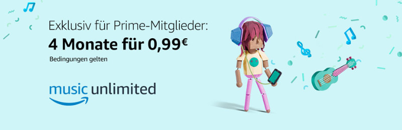 Music Unlimited - 4 Monate für 99 Cent mit Prime