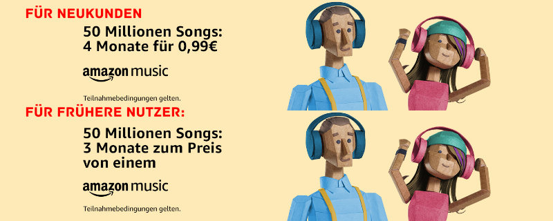 Amazon Music Unlimited ab 99 Cent für 4 Monate - Angebot frühere Tester / Bestandskunden