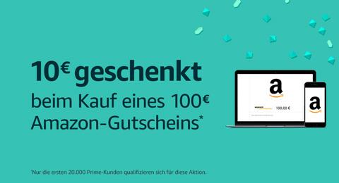 10 Euro Amazon Gutschein - beim Kauf eines Gutschein über 100 Euro oder mehr