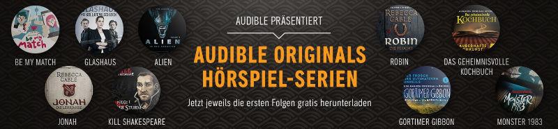 Audible Originals Hörspiele/Hörbücher kostenlos antesten - auch mit Amazon Echo