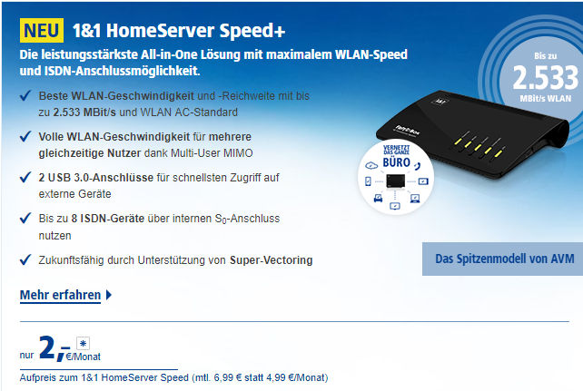 FRITZ!Box 7590 bei 1&1 - HomeServer Speed+
