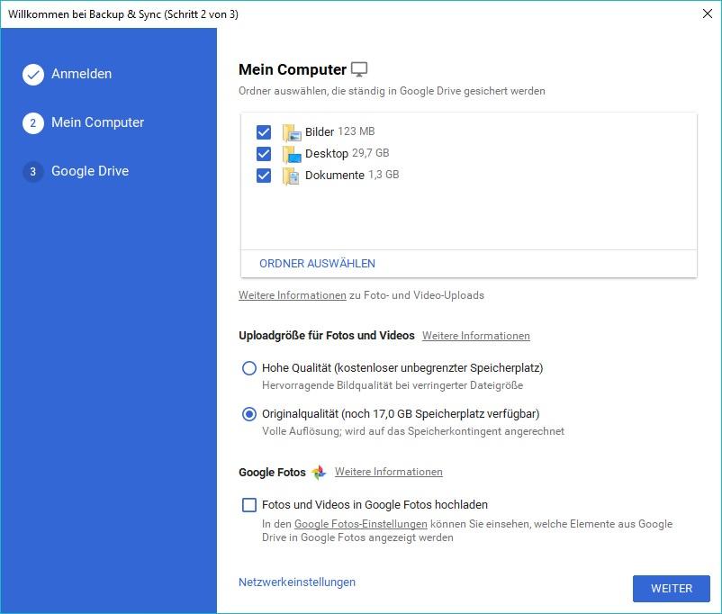 Dateien und Fotos vom PC / Mac auf Google Drive sichern - Cloud
