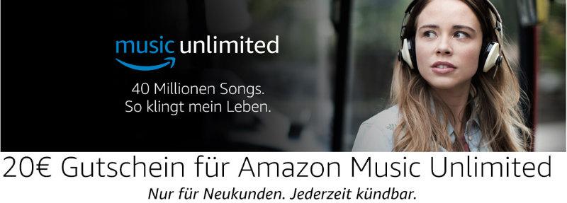 20 Euro Gutschein für Neukunden bei Amazon Music Unlimited - Musik, Hörspiele, Bundesliga und DFB-Pokal