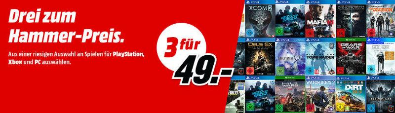 Media Markt: 3 für 49 Euro - PlayStation, Xbox und PC