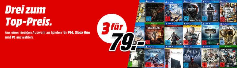 3 Spiele für 79 Euro - Playstation 4, Xbox One, PC