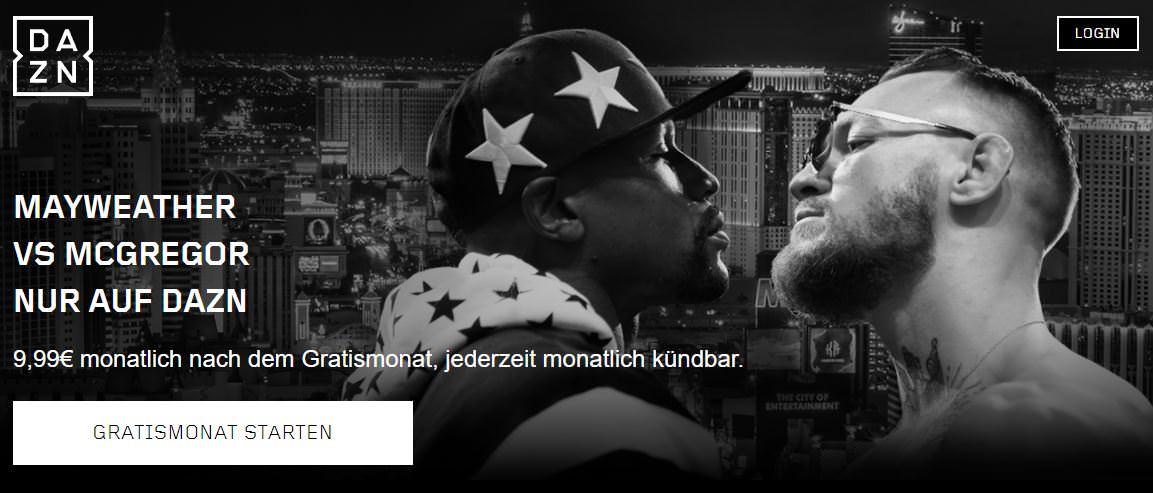 Screenshot - DAZN DE - Mayweather va. McGregor Kampf kostenlos in Deutschland schauen