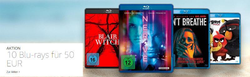 10 Blu-rays für 50 € Aktion bei Amazon