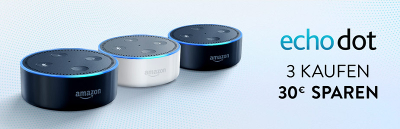 DOT3PACK Gutschein Amazon September für drei Echo Dot