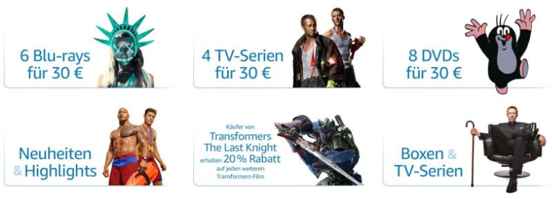Heimkino-Angebote - Filme und Serien reduziert - im Paket günstiger
