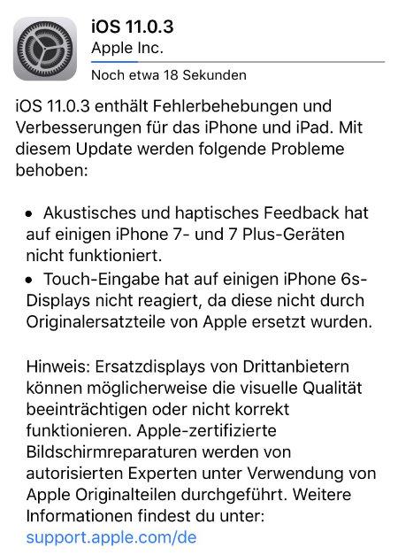 iOS 11.0.3 - Update für Touchprobleme beim iPhone 6S