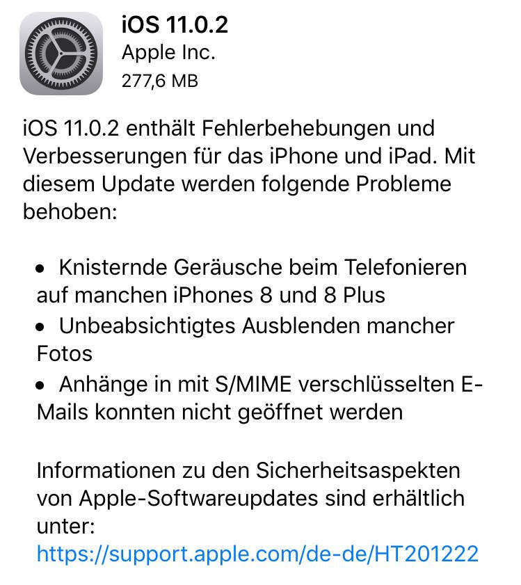 iOS 11 neue Version 11.0.2 - Behebt Störgeräusche - knistern, knacken bei Telefonaten