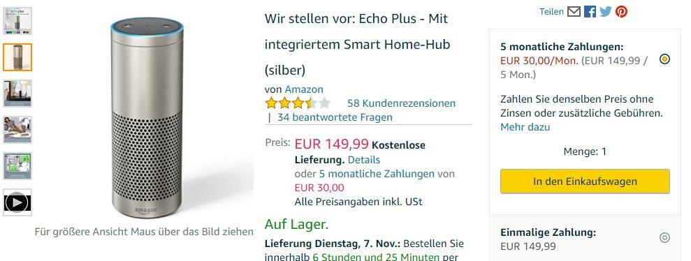 Ratenzahlung bzw. Finanzierung bei Amazon - ausgewählte Geräte