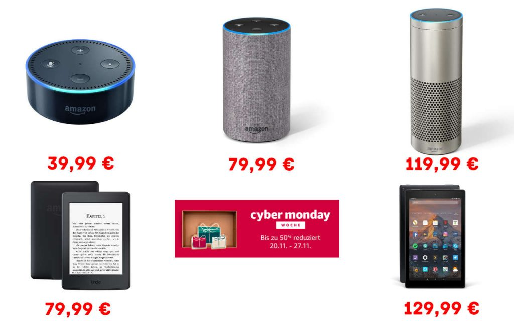 Cyber Monday - Amazon Echo, Echo Dot, Echo Plus reduziert