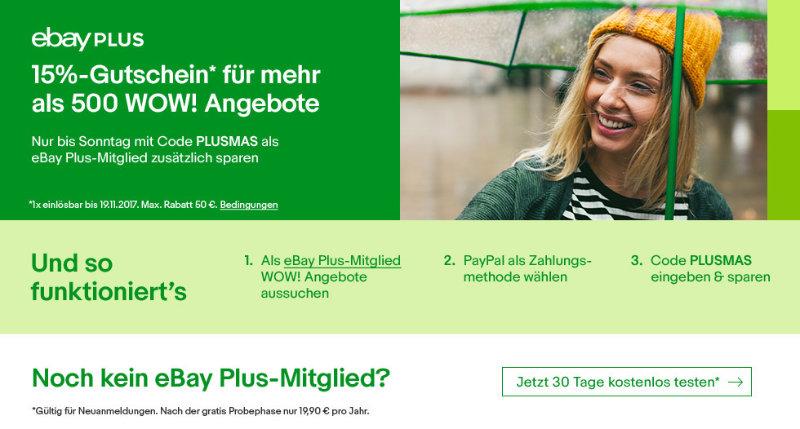 15% Rabatt auf eBay WOW Angebote mit eBay Plus