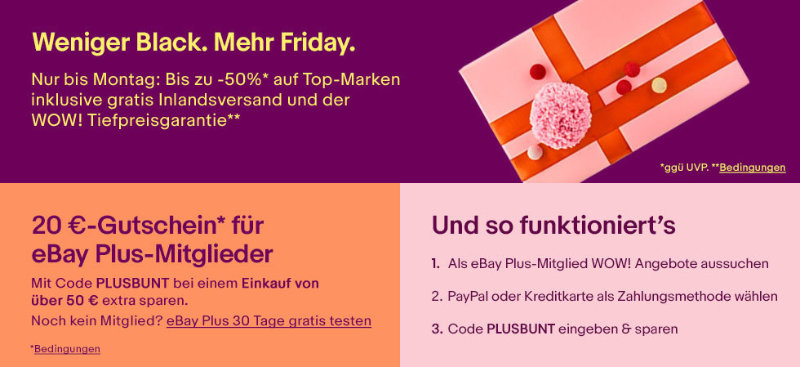 eBay Black Friday Sales - 20 Euro Gutschein
