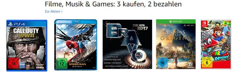 3 Produkte kaufen, 2 zahlen - Blurays, DVDs, Spiele, Games, CDs, Vinyl