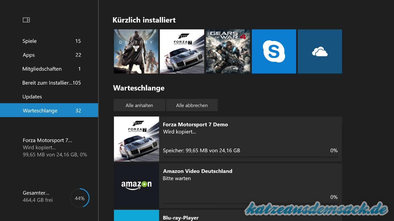 Xbox One - Spiele von interner Festplatte auf USB-Festplatte kopieren bzw. verschieben