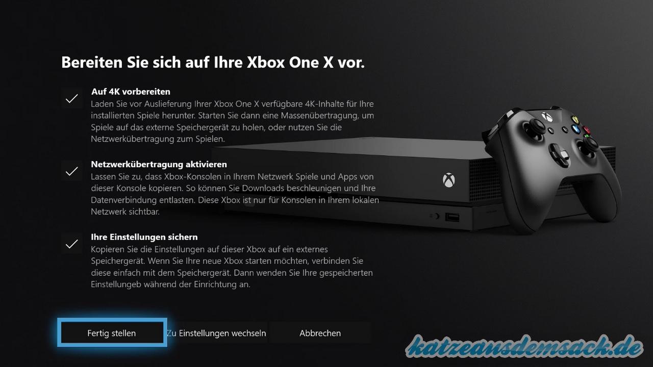 Xbox One - Einstellungen für Umzug auf Xbox One X aktivieren