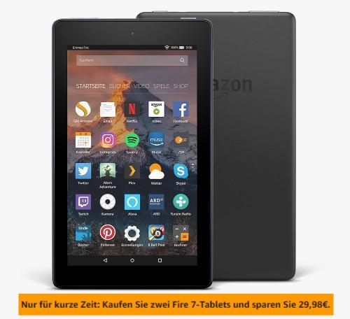 Amazon Fire 7 Tablet mit Alexa Sprachsteuerung für 30 Euro im 2er Pack