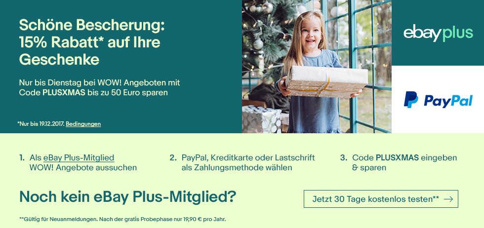 15% Rabatt auf eBay WOW Angebote und StubHub mit eBay Plus