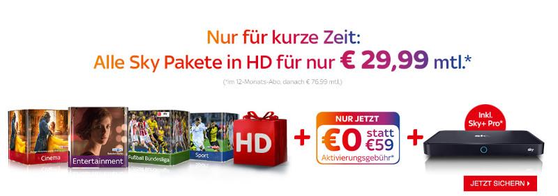 Sky Schnäppchen Januar 2018 - Alle Pakete für 29,99 Euro