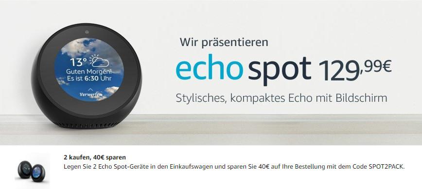 Echo Spot - Amazon Echo mit kleinem runden Bildschirm in Deutschland bestellen
