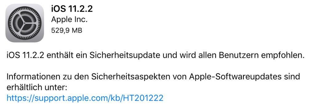 Sicherheitsupdate iOS 11.2.2 - Meltdown und Spectre?