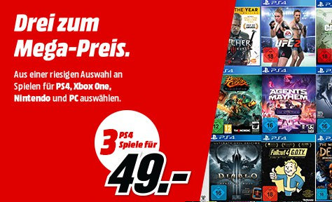 3 Spiele für 49 Euro bei MediaMarkt - PlayStation 4, Xbox One, Windows PC und Nintendo Switch
