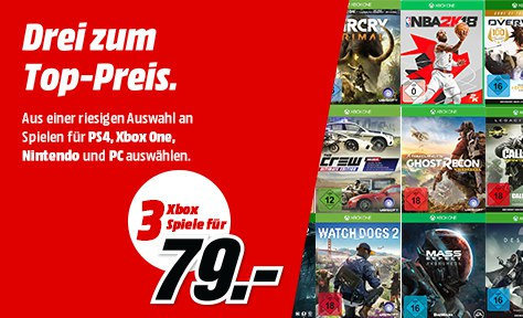 3 Spiele für 79 Euro - Playstation 4, Xbox One, PC,Nintendo Switch