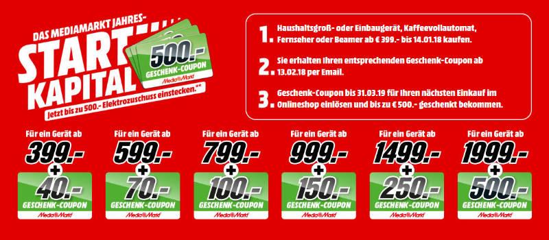 MediaMarkt Aktion mit Gutscheinen, Coupons, Geschenkkarten bis 500 Euro