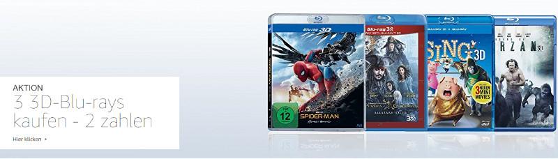 3 für 2-Aktion mit 3D-Blu-rays im Februar und März 2018