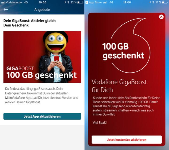 Gigaboost Vodafone 100 GB gratis - offiziell gestartet