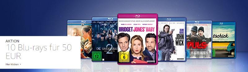 10 Blu-rays für 50 € Aktion bei Amazon - Februar 2018