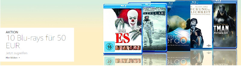 10 Blu-rays für 50 € Aktion bei Amazon - März 2018 - Ostern