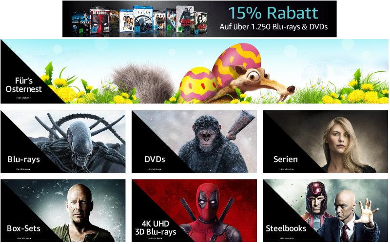 15% Rabatt auf Filme und Serien bei Amazon - 7 Tage Oster-Angebote - März 2018